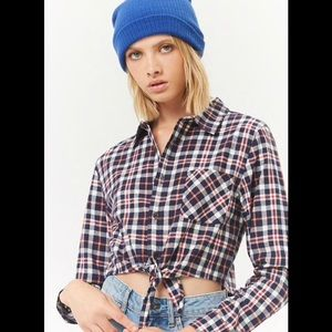 NWOT Forever 21 Blue Plaid Crop Top with Tie